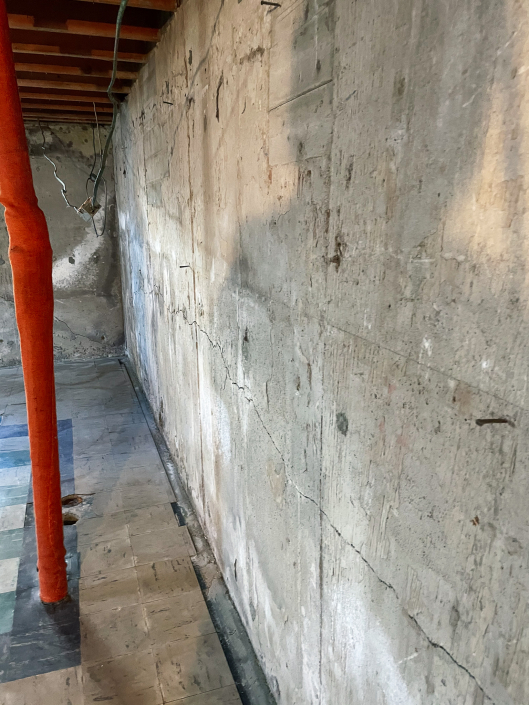 basement wall prepping for bracing