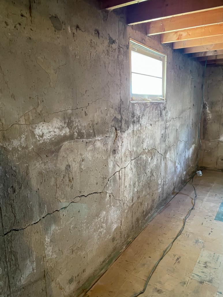 basement window needing foundation repair